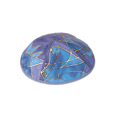Judaica Motif Blue Silk Painted Kippah