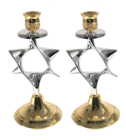 Silver and Gold Plated Candlesticks