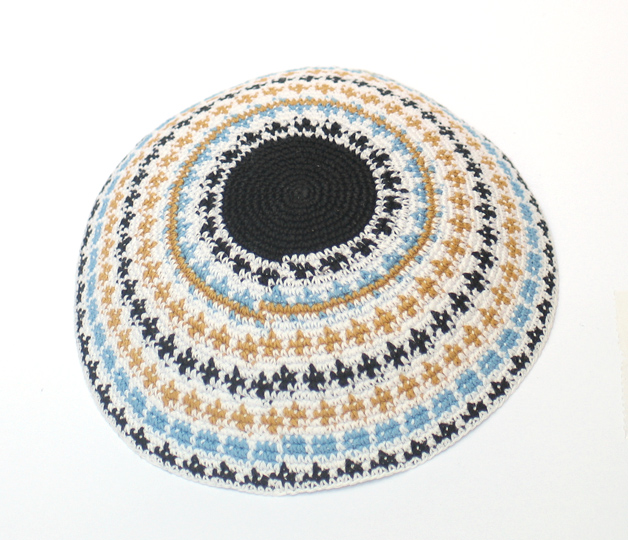 Knit Kippot with blue and gold design 6.1″