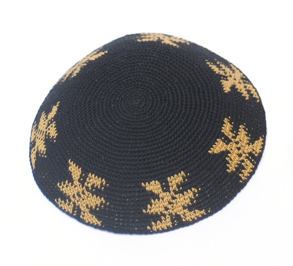 Black and Gold Knit Kippot 6.1