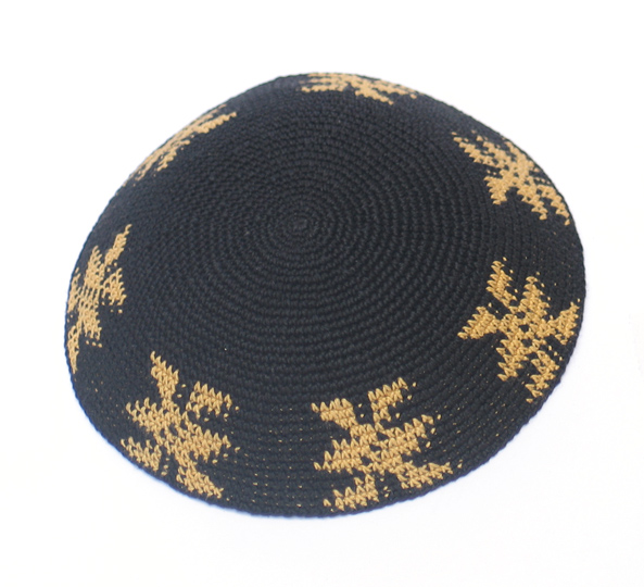 Black and Gold Knit Kippot 6.1″