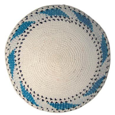 White Knit Kippot with blue border 6.1″