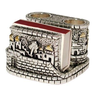 Silver Plated Match Box Holder - Jerusalem Design