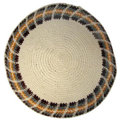 Beige Kippah with colorful border design 5.9″