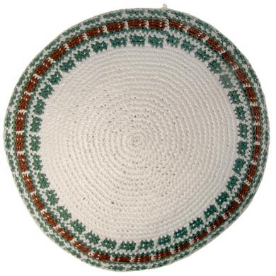 White, Green and Gold Knit Kippot 6