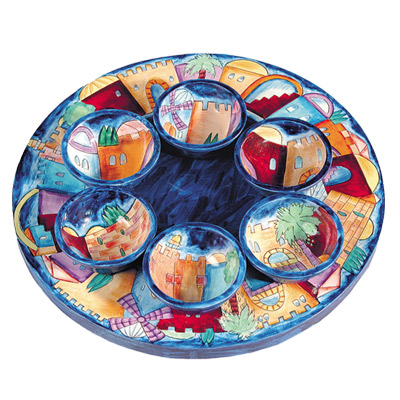 Jerusalem Seder Plate and Six Small Bowls