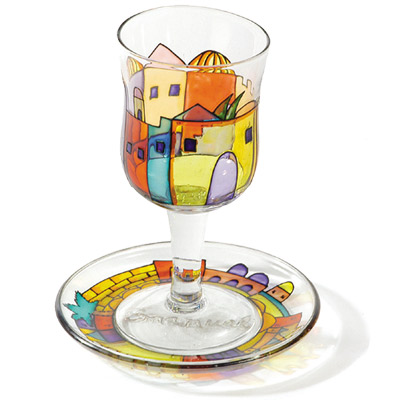 Painted Wineglass and Saucer - Jerusalem Old City design