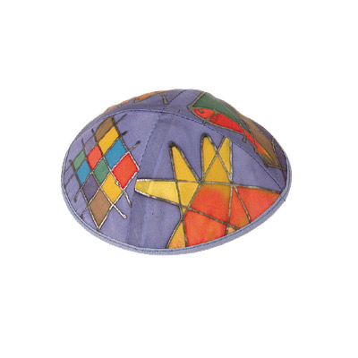 Judaica Motif Silk Painted Kippah with violet background