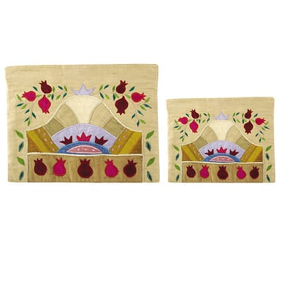Beige and gold Raw Silk Tallit and Tefillin Bag -Pomegranate design