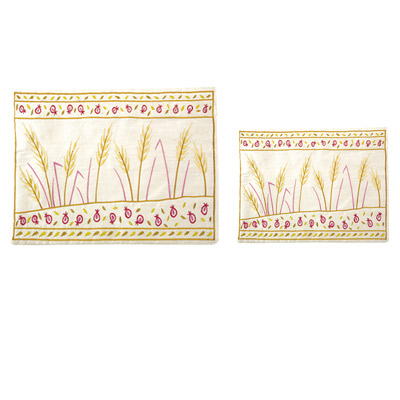 Wheat and pomegranate design Raw Silk Tallit and Tefillin Bag