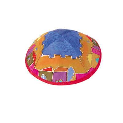 Silk Painted Kippah-Jerusalem design