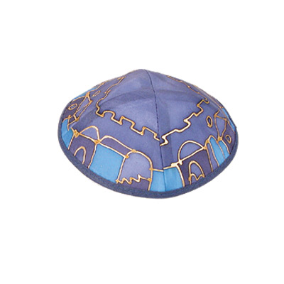 Blue and Violet Old City design Silk Painted Kippah