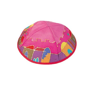 Pink Old City design Silk Painted Kippah