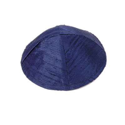 Blue Raw Silk Kippah