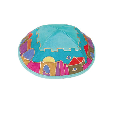 Blue Old City Silk Painted Kippah