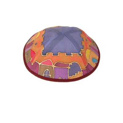 Colorful Old City design Silk Painted Kippah