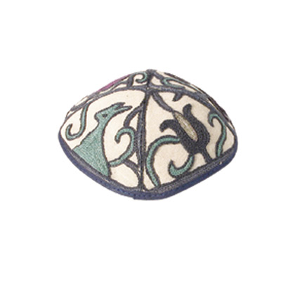 Tulip design Hand Embroidered Kippah