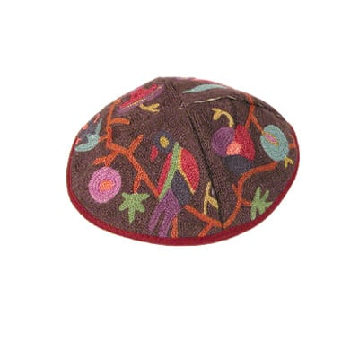Colorful bird design Hand Embroidered Kippah