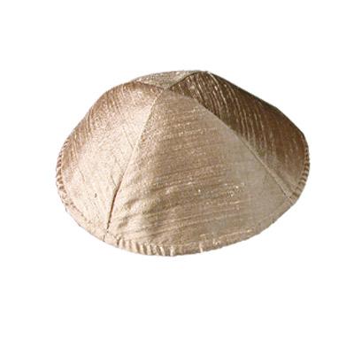 Gold-beige Raw Silk Kippah