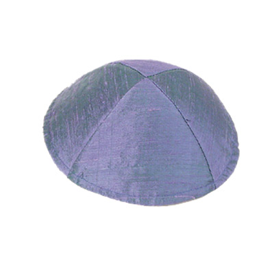 Blue-violet Raw Silk Kippah