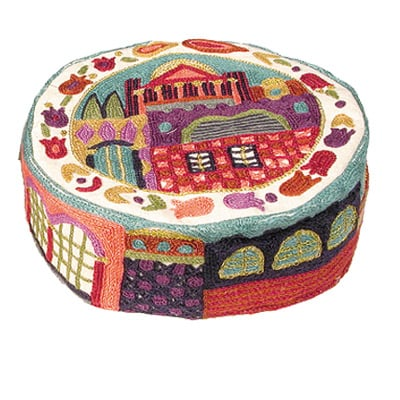Hand Embroidered Hat with colorful Jerusalem scene