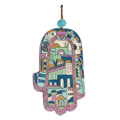 Old City Jerusalem Large Wood Painted Hamsa
