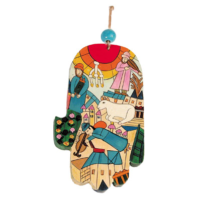 Fiddler on the Roof Large Wood Painted Hamsa