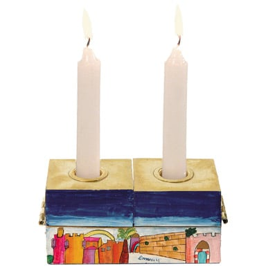 Jerusalem Hannukkah Menorah and Shabbat Candlesticks