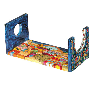 Hand Painted Jerusalem Wooden Shofars Stand-Large