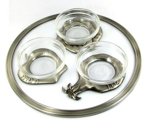 Silver & Glass Rosh Hashanah plate