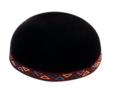 Yemenite Kippah with colorful geometric border