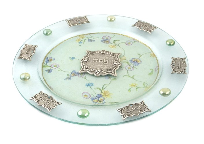 "Round Hand Made Glass Seder Plate ""Flowers Design"""