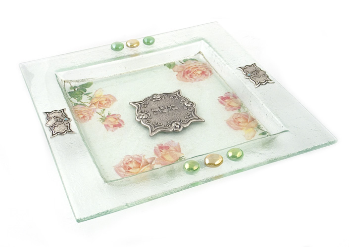 Hand Made Glass Square Matzah Plate