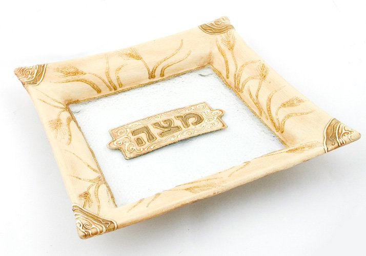 Hand Made Glass Matzah Plate