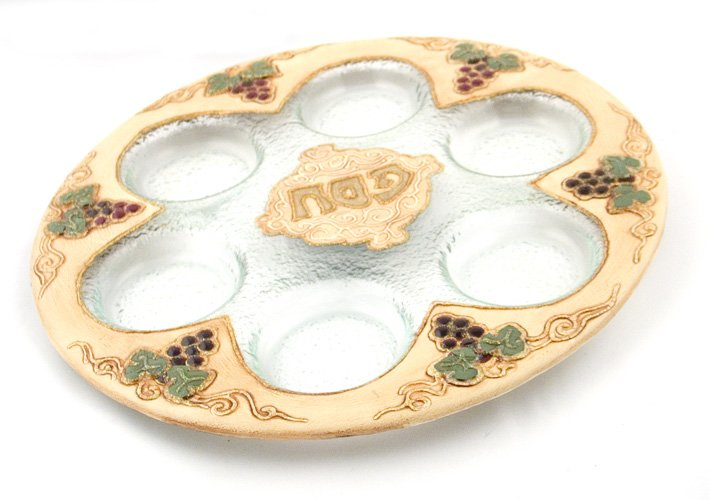 "Hand Made Glass Seder Plate ""Grapes Design"""