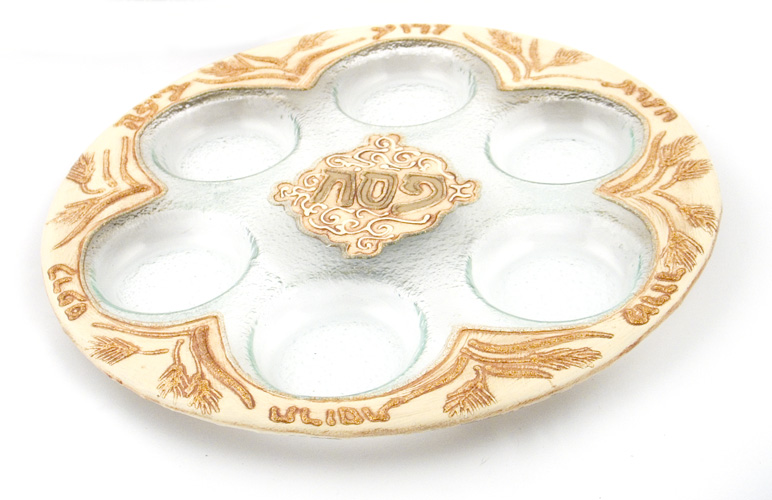 "Hand Made Glass Seder Plate ""Stalks Design"""