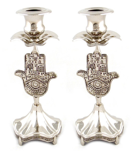 Silver Plated Hamsa Candlesticks