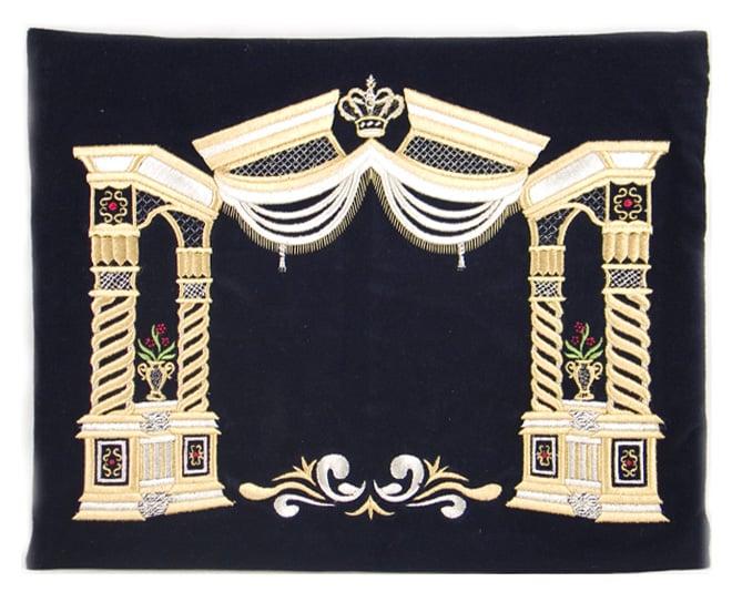Dark Blue Velvet Tallit & Tefillin Bags - Gold Vilna Pillars