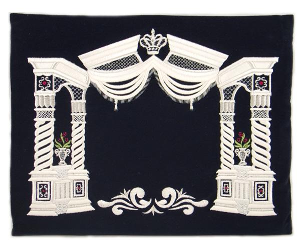 Dark Blue Velvet Tallit & Tefillin Bags – Silver Vilna Pillars