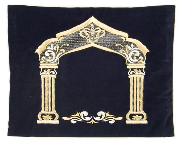 Dark Blue Velvet Tallit & Tefillin Bags - Gold Pillars