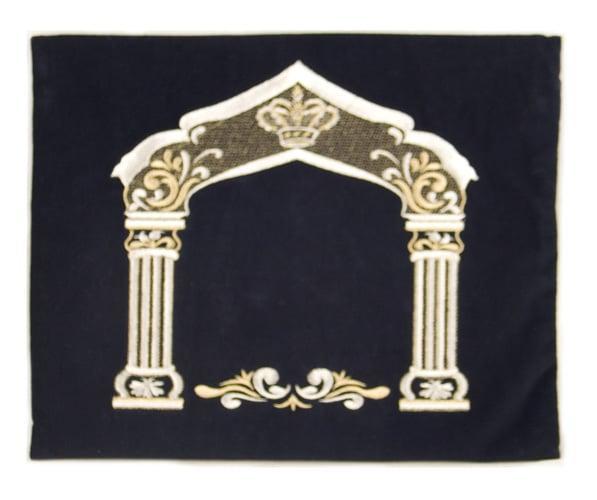 Dark Blue Velvet Tallit & Tefillin Bags - Silver Pillars