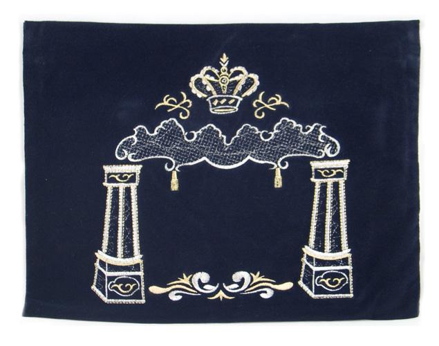 Dark Blue Velvet Tallit & Tefillin Bags - Pillars