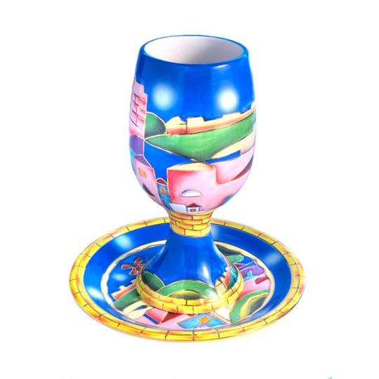 Jerusalem Design Ceramic Kiddush Cup