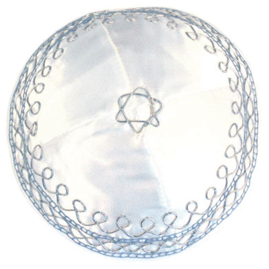 White Kippah with Silver and Light blue design