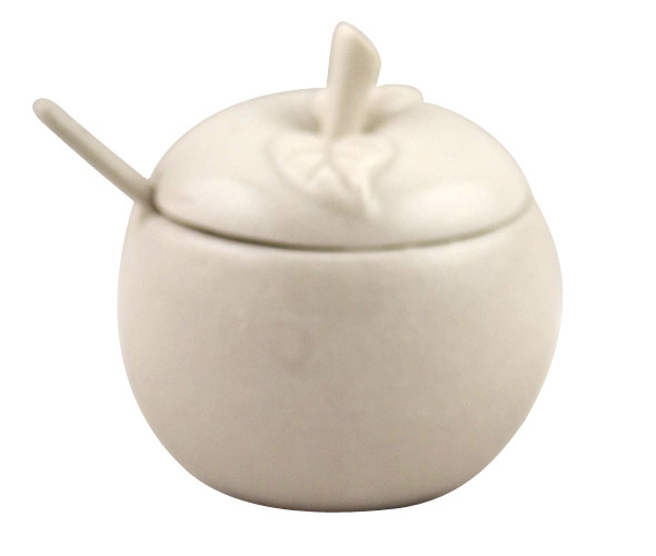 White Ceramic Apple Honey Dish
