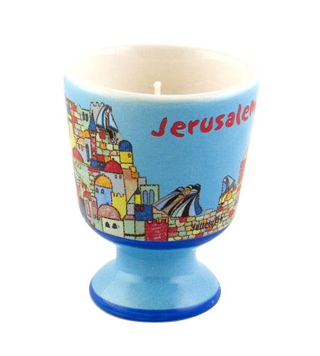 Ceramic Yahrzeit Candle – Jerusalem