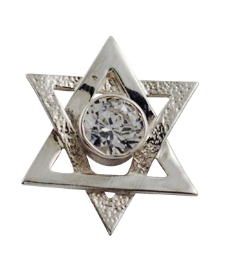Sterling Silver Star of David Pendant with Zirconium