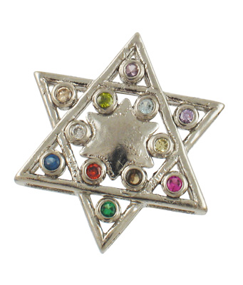 Sterling Silver Magen David Multicolored Pendant