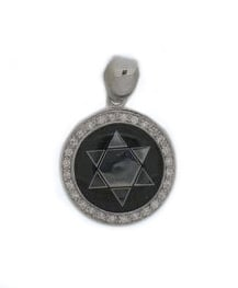 Sterling Silver Star of David Pendant with Black Enamel background