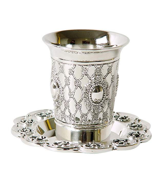 Flower design Kiddush Cup and Plate Set